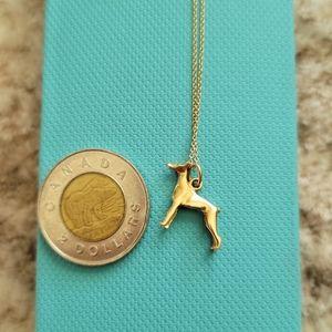 Doberman 10k gold pendant(vintage)